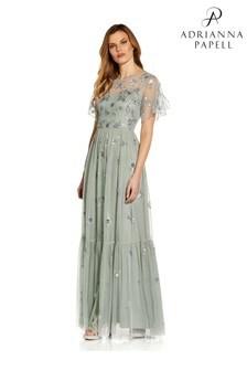 Adrianna Papell Blue Beaded Mesh Dress