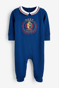 Navy Collar Smart Single Sleepsuit (0mths-3yrs)