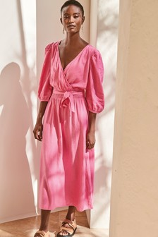 Pink Linen Blend Wrap Dress