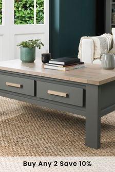 Dark Grey Scandi Oak Oakham Coffee Table with Drawers by Bentley Designs