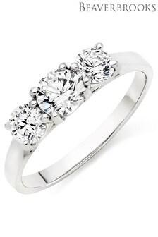 Beaverbrooks 9ct White Gold Cubic Zirconia Three Stone Ring
