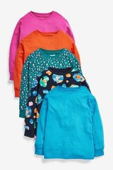 Multi Bright 5 Pack Bright Animal Long Sleeve T-Shirts (3-16yrs)