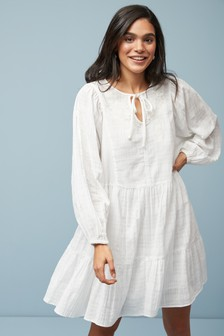 White Tiered Embroidered Kaftan Dress