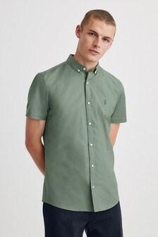 Green Regular Fit Short Sleeve Stretch Oxford Shirt