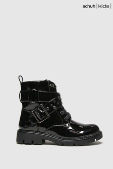 Schuh Black Mystical Studded Buckle Boots