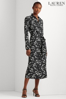 Lauren Ralph Lauren® Black Anchor Print Fayella Shirt Dress