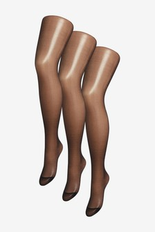 Black 15 Denier Matt Tights Three Pack