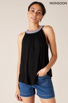 Monsoon Black Embroidered Neckline Jersey Top