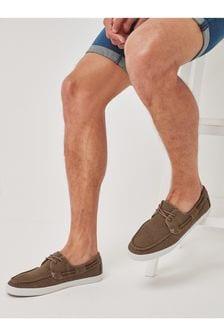 Khaki Canvas Boat Shoes