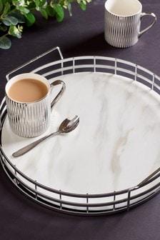 White Marble Effect Medium Tray