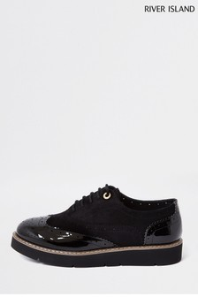 River Island Black Brogue Lace-Up Shoes