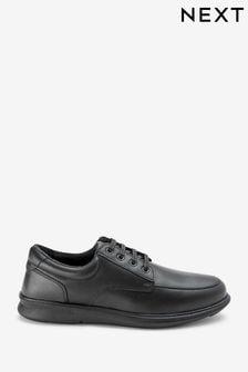 Black Regular Fit Apron Lace-Up Derby Shoes