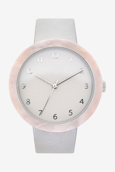 Grey/Pink Resin Case Watch