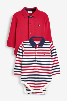 Red 2 Pack Poloshirt Bodysuits (0mths-3yrs)