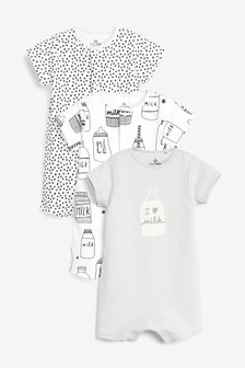 Monochrome 3 Pack I Love Milk Rompers (0mths-3yrs)