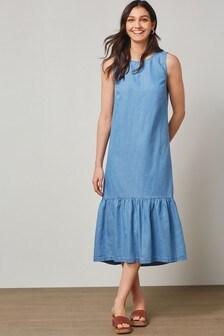Blue Tiered Midi Dress