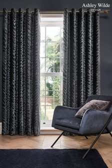 Ashley Wilde Grey Jovan Lined Eyelet Curtains