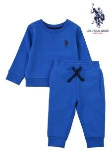 U.S. Polo Assn Blue Player Crew Sweat Set