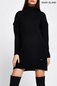River Island Black Easy Jumper Dress