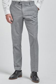 Light Grey Slim Fit Wool Mix Textured Suit: Trousers