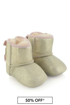 Baby Girls Metallic Gold Jesse Bow Pre Walker Boots