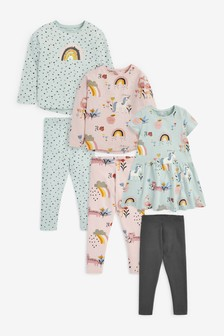 Multi Unicorn Dress, T-Shirt And Leggings Bundle (3mths-7yrs)