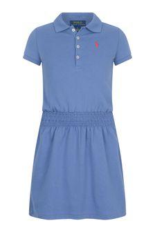 Ralph Lauren Kids Girls Blue Cotton Polo Dress
