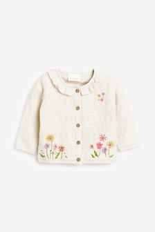 Oatmeal Floral Embroidery Cardigan (0mths-3yrs)