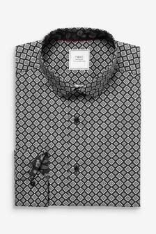 Black Diamond Geometric Slim Fit Single Cuff Printed Shirt With Trim Detail