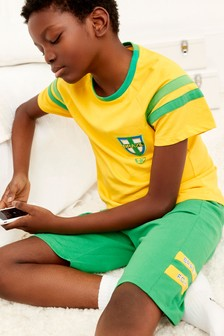 Yellow Brazil Football Short Pyjamas (3-16yrs)
