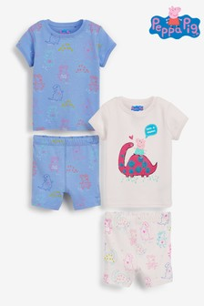 Pink/Blue 2 Pack Glitter Peppa Pig Dinosaur Short Cotton Pyjamas (9mths-6yrs)