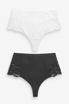 Black/White Cotton Shaping Thong Knickers Two Pack