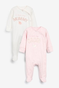 Pink/White 2 Pack Mummy And Daddy Elephant Sleepsuits (0-2yrs)
