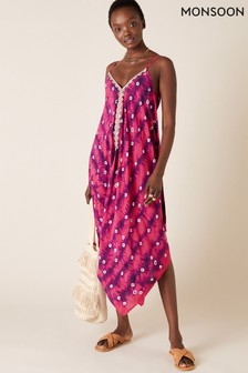 Monsoon Sequin Embroidered Tie Dye Dress