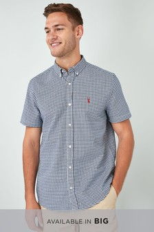 Navy/White   Short Sleeve Gingham Shirt