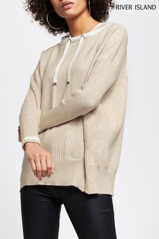 River Island Brown Light Rib Panel Hoody