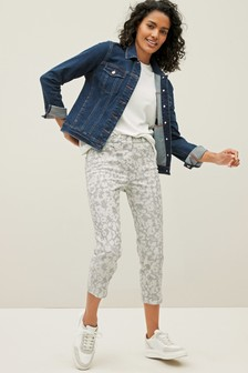 Blue Tie Dye Floral Cropped Straight Jeans