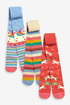 Multi 3 Pack Unicorn Character Tights