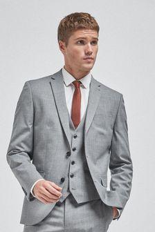 Light Grey Slim Fit Wool Mix Textured Suit: Jacket