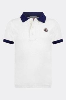 Boys White Cotton Polo Top