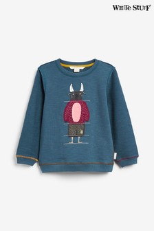 White Stuff Teal Kids Fun & Games Jersey Sweater