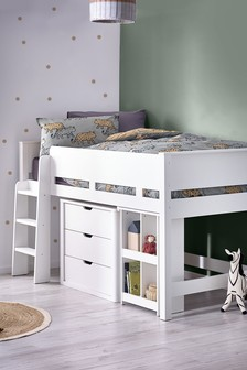 White Compton Mid Sleeper Single Bed Frame with Desk