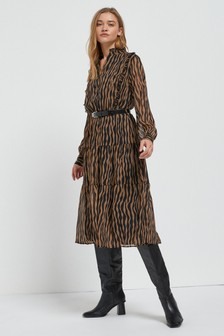 Zebra Animal Midi Tiered Shirt Dress