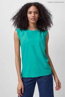 French Connection Green Crepe Light Capped T-Shirt