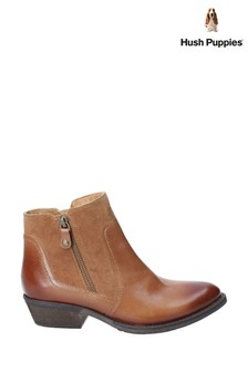 Hush Puppies Tan Isla Zip Up Ankle Boots