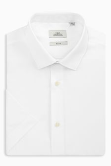 White Slim Fit Short Sleeve Shirts Three Pack