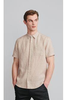 Neutral Linen Blend Short Sleeve Shirt
