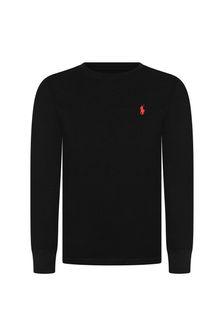 Boys Black Cotton Long Sleeve Jersey T-Shirt