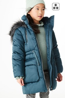 Teal Blue Shower Resistant Faux Fur Trim Padded Jacket (3-16yrs)