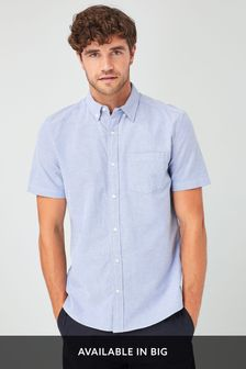 Light Blue Regular Fit Short Sleeve Oxford Shirt